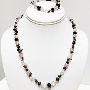 Teng Yue Pink  Crystal Necklace and bracelet